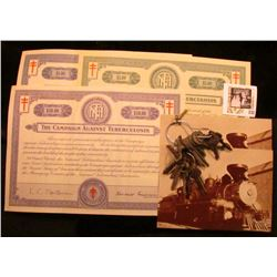 (2) different $5 & $50 The Crusade of the Double-Barred Cross Christmas Seal Bonds, (designed simila