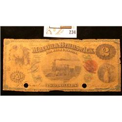"Feb. 1, 1867 Macon, Ga. ""The Macon & Brunswick Rail Road Company"" Two Dollar Bank Note with red seal"