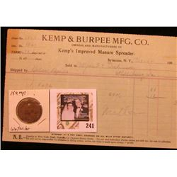 """""""J.S. Kemp Mfg. Co./Pay Check"""" with  """"158"""", uniface, brass, rd., 29mm with a 1904 Invoice from """"Kemp"""