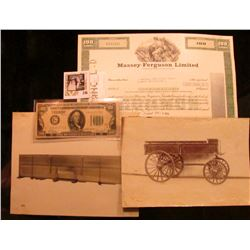 """Stock Certificate for 100 Shares """"Massey-Ferguson Limited"""" central vignette of female with plow and"""