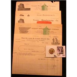 """(4) 1910-14 Invoices and letterheads """"Vernier Manufacturing Company""""; """"The Bucher & Gibbs Plow Co."""""""