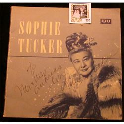 """Sophie Tucker personally autographed """"Decca Records"""" Cover, which 'Doc' valued at $250.00."""