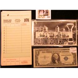 """""""Track One Restaurant Rock Island Lines"""" Menu Tickets; """"Baltimore, Md. Oct. 1, 1987 First Day of Iss"""