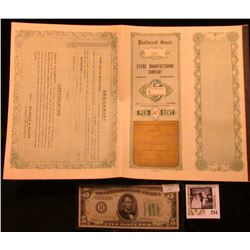 """Unissued """"Preferred Stock #328 Steril Manufacturing Company Omaha, Nebraska"""" with coupons & certific"""