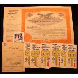 "1947 Menu Union Pacific Railway ""Utah Parks Company Bryce Canyon Lodge""; Four Shares ""Tri-Plex Manuf"