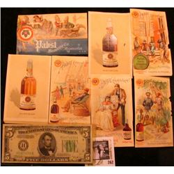 (7) different Pabst Beer advertising cards; Series 1934B Five Dollar Federal Reserve Note, plate num