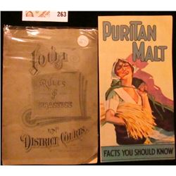 """""""Puritan Malt Extract Co. Chicago and Milwaukee"""" brochure (later became Pabst Beer); & 1880 Booklet"""