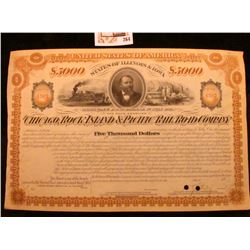 "1877 $5000 Mortgage Bond Payable 1st July 1917 United States of America States of Illinois & Iowa ""T"
