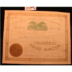 """1894 Stock Certificate for Two Shares """"College Park Land Company of Des Moines, State of Iowa"""", with"""