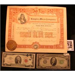 """1903 Stock Certificate for Two Hundred Shares """"Empire Mica Company"""" with a Gold Notary Seal from Sou"""