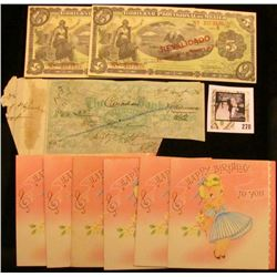 """August 31st, 1874 Woodstock, Ont. """"The Canadian Bank"""" cut-cancelled Check; (6) 1950 era """"Happy Birth"""
