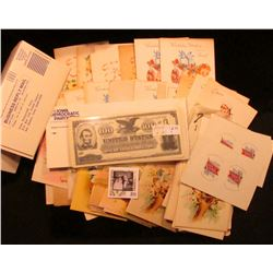 Large group of 1950 era Greeting cards; group of Democratic Party envelopes; Group of faces for anti