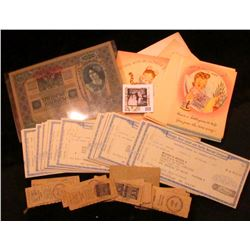 Several 1950 era Greeting Cards, some with envelopes, all unused; group of hole cancelled Dividend c