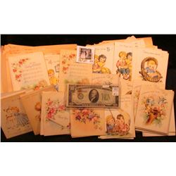 Large group of 1950 era Greeting Cards, some with envelopes, all unused; Series 1934A $10 St. Louis,