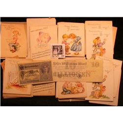 Large group of 1950 era Greeting Cards & envelopes, unused; Series 1923 Germany 10 Million Mark Reic