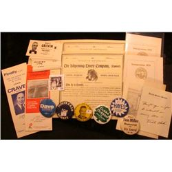 """(6) different Political Pin-backs; group of campaign card """"Charles F. Griffin Republican Candidate f"""