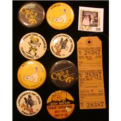 "Group of Iowa Hawkeye Pinbacks; ""Bushwacker Traer Centennial 1873-1973 July 17-22"" Pin-back; & a ""Ro"