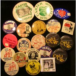 (20) Old Pin-backs, most of which are from Iowa. Includes Iowa Hawkeyes, Braddyville Centennial, Aud