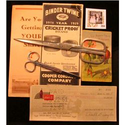 """Advertising Brochure """"Binder Twine 29th Year 1929 """"Cricket Proof"""" Brand…Cooper Cordage Company…""""; pa"""