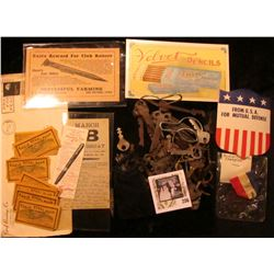 """Felt Bag with several old Specialty Keys from a Key Collection; Window Shield from WW II """"From U.S.A"""