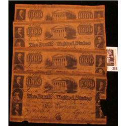 """Group of (5) $1,000.00 """"The Bank of the United States"""" Replica notes on acid treated paper, all adve"""