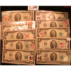 (10) Series 1976 Two Dollar Federal Reserve Notes with First Day of Issue Postmarks and Stamps from