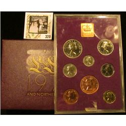1970 Coinage of Great Britain and Northern Ireland Proof Set in original case of issue. (9 pcs.).