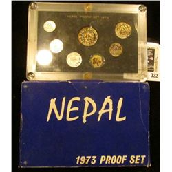 1973 Nepal Proof set in original box of issue. Includes seven-piece. Various degrees of toning.