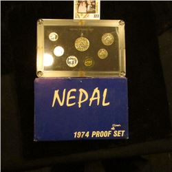 1974 Nepal Proof set in original box of issue. Includes seven-piece. Various degrees of toning.