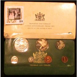 1973 Trinidad and Tobago Tenth Anniversary Proof set in original case of issue. Some toning. Seven-p