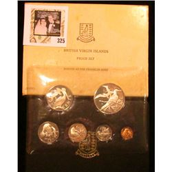 1974 British Virgin Islands Six-piece Proof set in original case of issue. The One-dollar coin is St