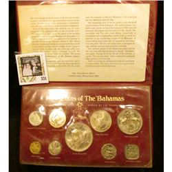 1974 Coins of the Bahamas Uncirculated Specimen Set struck by the Franklin Mint, Nine-piece in origi