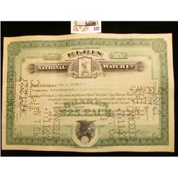 """1927 hole cancelled Stock Certificate for Sixteen Shares of """"Elgin National Watch Co."""""""