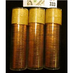 (3) 1957 Original Gem BU Solid-date Rolls of Canada Maple Leaf Cents. Each roll contains 50 pcs, all