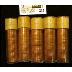 (5) 1957 Original Gem BU Solid-date Rolls of Canada Maple Leaf Cents. Each roll contains 50 pcs, all