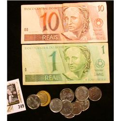 Collection of Brazilian Coins & Currency.