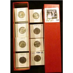 """9"""" x 2"""" x 2"""" Stock box  containing 83 various non-silver Washington Quarters in carded holders. ($20"""