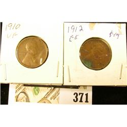 1910 P VF & 12 P EF Lincoln Cents.