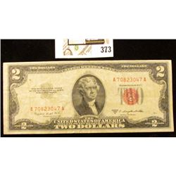Series 1953B Two Dollar United States Note, S/N A70823047A.  Red Seal