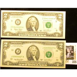 Series 2003 & Series 2003A $2 Federal Reserve Notes, Both CU.