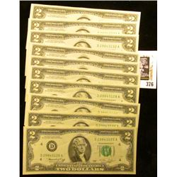 (10) Series 1976 Consecutively Serial Numbered Two-Dollar Federal Reserve Notes, CU.
