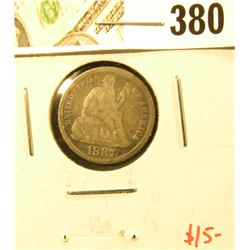 1887 Seated Liberty Dime, G, value $15