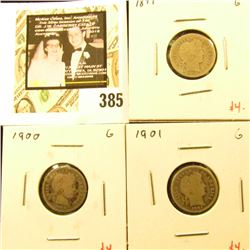 Group of (3) Barber Dimes, 1899, 1900, 1901, all G, group value $12