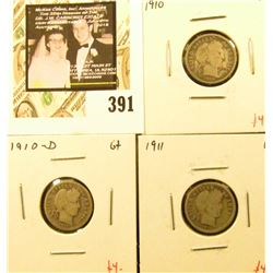 Group of (3) Barber Dimes, 1910, 1910-D, 1911, all G, group value $12