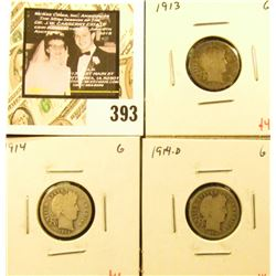 Group of (3) Barber Dimes, 1913, 1914, 1914-D, all G, group value $12