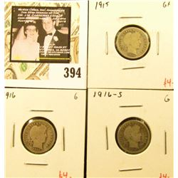 Group of (3) Barber Dimes, 1915, 1916, 1916-S, all G, group value $12