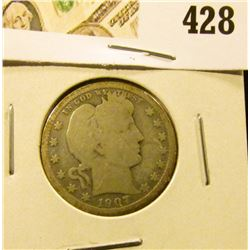 1907 Barber Quarter, G+ full rims, value $9