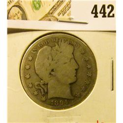 1894 Barber Half Dollar, G, value $22