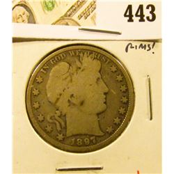 1897 Barber Half Dollar, G6, strong rims, value $20