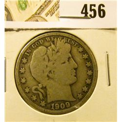 1909 Barber Half Dollar, VG, value $17
